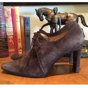 ELLEN TRACY Suede Victorian Granny Heels 8.5 Italy